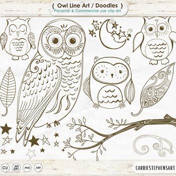Owl Line Art, Owl Digital Stamp Outlines, Owl ClipArt, Birds, Tree Branch