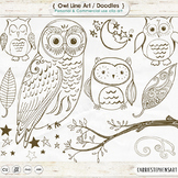 Owl Line Art, Owl Digital Stamp Outlines, Owl ClipArt, Birds, Tree Branch