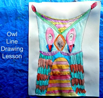 Owl Line Drawing Lesson Sub Lesson Easy Prep Zentangle Ins