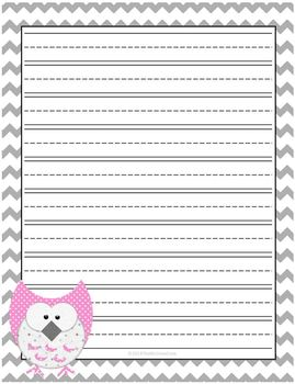 Owl Lined Writing Paper Set of 5 Chevron