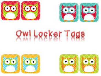 Owl Locker Tags (Polka Dot)