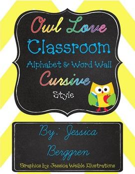 Owl Love Classroom Alphabet & Word Wall {Cursive Style}