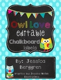 Owl Love Editable Chalkboard Labels