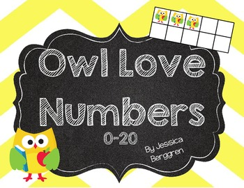 Owl Love Number Cards 0-20 {Chalkboard Style and Owl Ten Frames}