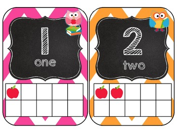 Owl Love Number Cards 0-20 {Chalkboard Style and apple Ten Frames}