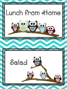 Owl Lunch Choice Ribbon Organizer - Editable