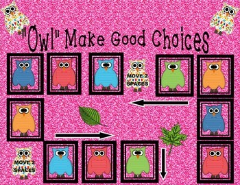 Owl Make Good Choices Board Game--Reinforce Positive Behavior Back to School B2S