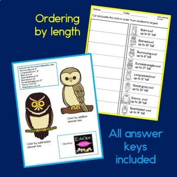 Owl Math Addition and Subtraction Freebie
