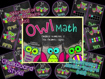 Owl Math Posters {Ordinal Numbers & Ten Frames Number Posters}
