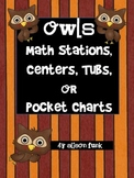 Owl Math Centers, Stations, Tubs, or Pocket Charts