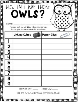 Owl Measuring Math Game --- How Tall Are Those Owls? --- Fall Math Center