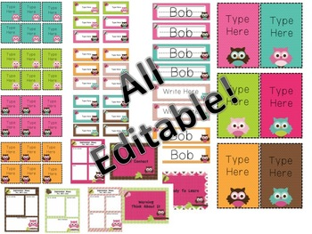 Owl Mega Classroom Set - Editable