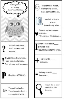 Owl Metacognition Bookmark