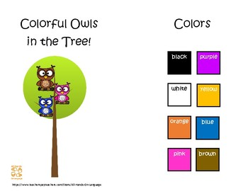 Colorful Owls in the Tree: Interactive Mini Book Autism Support