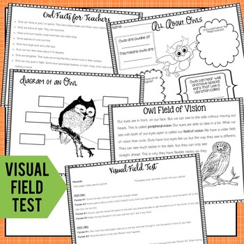 Owl Mini Unit: Informational Book, Vocabulary Cards, Vision Field Test