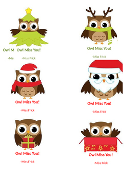 Owl Miss You Christmas Tags