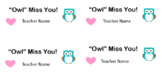 Owl Miss You End of Year Gift Tags EDITABLE