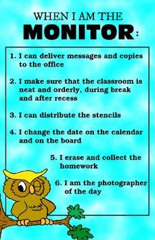 Owl Monitor Responsibilities Poster