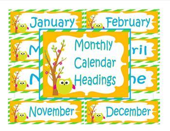 Owl Monthly Calendar Headings