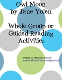 Owl Moon Book Study, Whole Group or Guided Small Groups, Substitute Plans