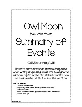 Owl Moon Event Summary Organizer
