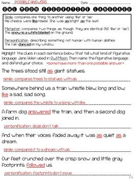 Owl Moon: Figurative Langua... by ideas by jivey | Teachers Pay ...