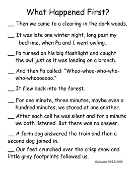 owl moon teaching resources teachers pay teachers rh teacherspayteachers com Comprehension Question Stems Reading Comprehension Questions for Parents