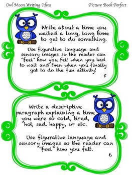 Owl Moon Sensory Image Task Cards