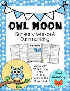 Owl Moon Sensory Words & Summarizing - VA English SOL 4.5g ...