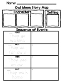 Owl Moon Sequencing/Story Map, Bonus: Owl Shape Craft, and Owl Writing Activity