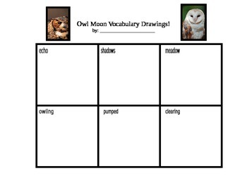 Owl Moon Vocabulary Drawings