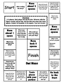"""Owl Moon"" comprehension game board"