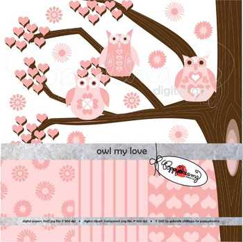 Owl My Love Clipart and Digital Paper Set by Poppydreamz