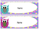 Owl Name Desk Tags