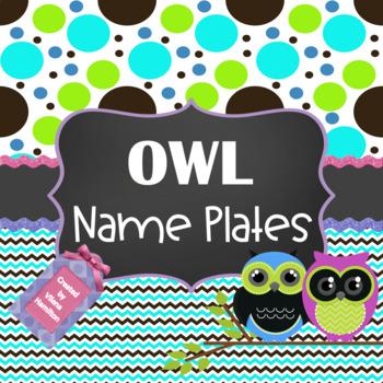 Owl Name Plates ~ Editable~