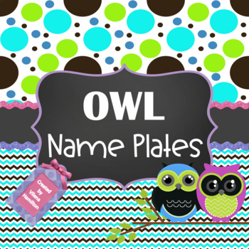 Owl Name Plates ~ Editable~