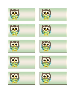 Owl Name Tag/Label Template