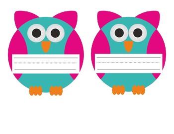 Name Tags Owl Theme