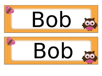 Owl Name Tags Desk Plates - Editable