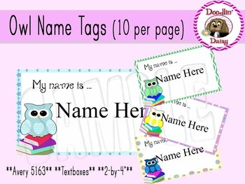 Owl Name Tags With Text Box