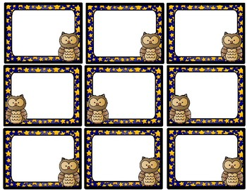 Owl Name Tags and Desk Tags