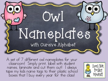 Owl Nameplates with the Cursive Alphabet ~ 7 Different Versions