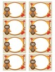 Owl Nametags with Leaves - Fall Colors