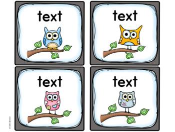 Owl Theme Labels EDITABLE