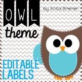 Owl Theme Labels EDITABLE