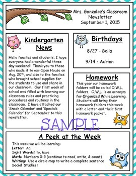Owl Newsletter (Editable)