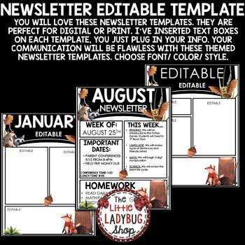 Editable Newsletter Templates [OWL Theme Classroom Newsletter Template Editable]