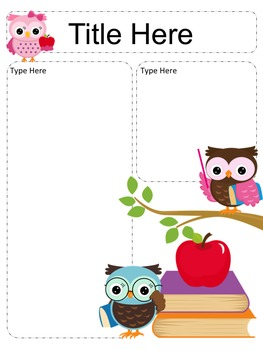 Owl Newsletter Templates - set of 12