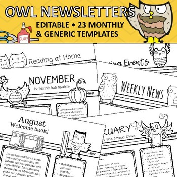 Owl Newsletter Templates - Monthly Theme and Everyday Occasions