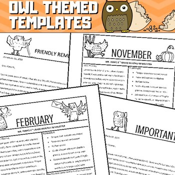 Owl Newsletter Templates - Editable for Letters, Calendars, with Monthly Themes